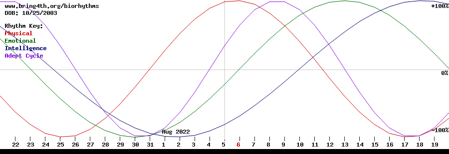 Biorhythms chart for December